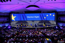 A general view of the Plenary Hall during the election night for European elections at the European Parliament in Brussels, Belgium, May 27, 2019.