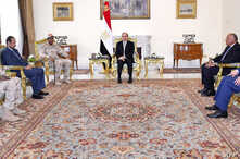 Handout picture released by the Egyptian Presidency on July 29, 2019 shows Egyptian President Abdel Fattah al-Sisi (C) meeting with Sudanese Deputy head of the Transitional Military Council, General Mohamed Hamdan Daglo (4th-R) in Cairo.