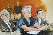 In this courtroom artist's sketch, defendant Jeffrey Epstein (C) sits with attorneys Martin Weinberg (L) and Marc Fernich during his arraignment in New York federal court, July 8, 2019.
