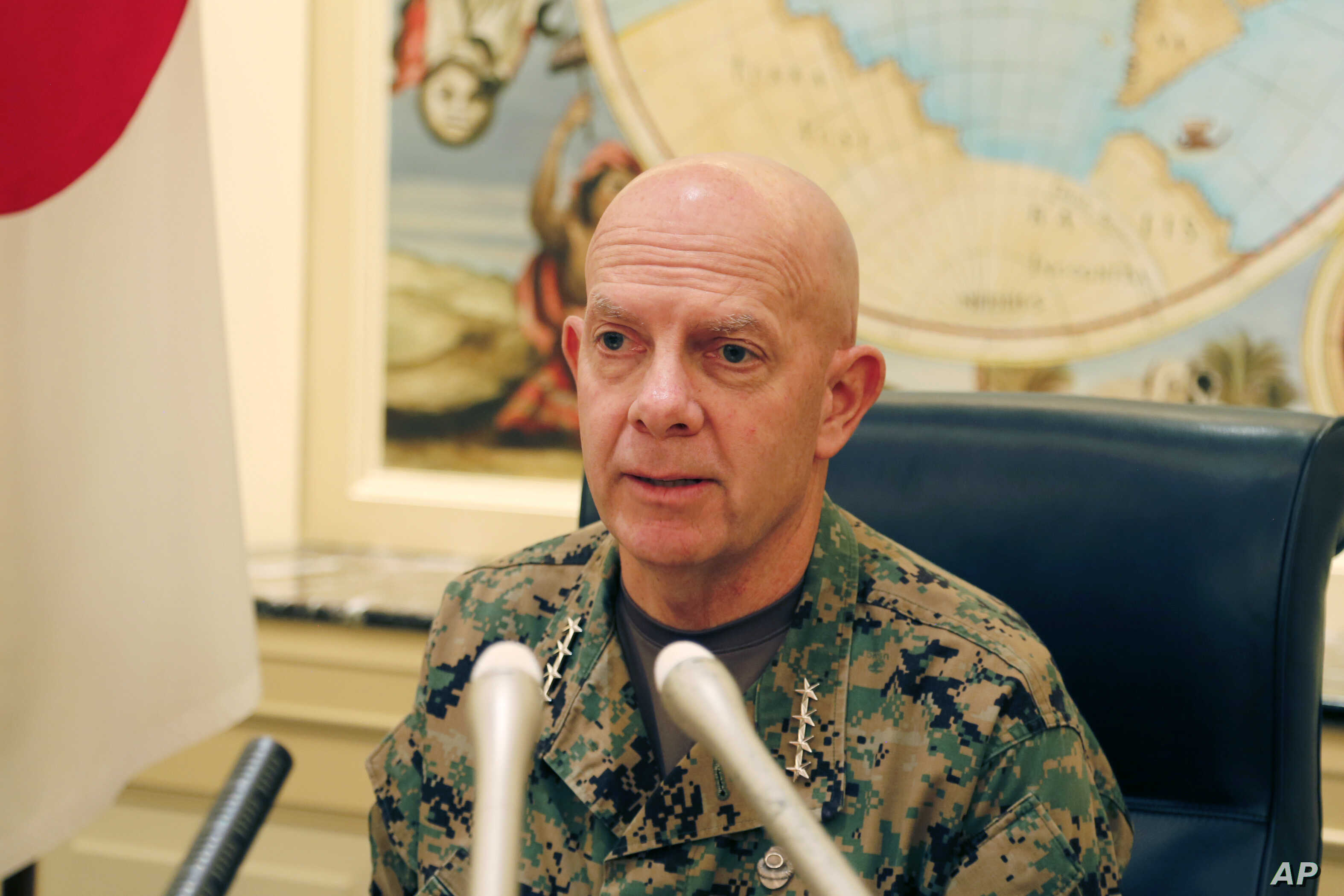 Gen. David Berger, the new U.S. Marines commandant, speaks during a press conference in Tokyo, Aug. 21, 2019.