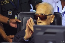 Nuon Chea, who was the Khmer Rouge's chief ideologist and No. 2 leader, sits in a court room before a hearing at the U.N.-backed war crimes tribunal in Phnom Penh, Cambodia, Nov. 16, 2018.