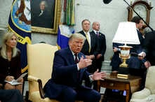 President Donald Trump speaks during a meeting with Italian President Sergio Mattarella in the Oval Office of the White House.