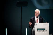 The Global Fund Executive Director Peter Sands, delivers a speech, Oct. 9, 2019 in Lyon, during The Global Funds Sixth Replenishment Conference.