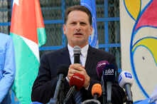 Pierre Krahenbuhl, Head of the United Nations Relief and Works Agency for Palestine Refugees (UNRWA), attends a ceremony to mark the return to school at one of the UNRWA schools at a Palestinian refugee camp Al-Wehdat, Amman, Jordan, Sept. 2, 2018.