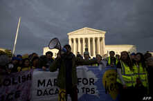 FILE - Demonstrators rally in front of the U.S. Supreme Court advocating for Deferred Action for Childhood Arrivals (DACA), and Temporary Protected Status (TPS) on Nov. 10, 2019 in Washington. Liberians are among groups covered under TPS.