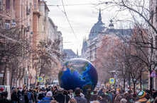FILE - Activists demonstrate to demand measures against climate change, in Budapest, Hungary, Nov. 29, 2019.