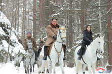 North Korean leader Kim Jong Un rides a horse as he visits battle sites in areas of Mt Paektu, Ryanggang, North Korea, in this undated picture released by North Korea's Central News Agency (KCNA), Dec. 4, 2019.