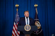President Donald Trump delivers remarks on Iran, at his Mar-a-Lago property, Friday, Jan. 3, 2020, in Palm Beach, Fla. (AP…