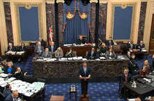 In this image from video, impeachment manager Rep. Adam Schiff, D-Calif., argues in favor of amendment