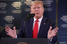 U.S. President Donald Trump gestures as he holds a news conference at the 50th World Economic Forum (WEF) in Davos, Switzerland…