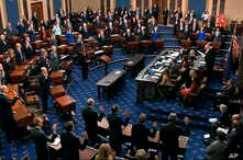FILE - Supreme Court Chief Justice John Roberts swears in members of the Senate for the impeachment trial of President Donald Trump at the Capitol in Washington, Jan. 16, 2020.