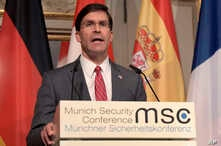 U.S. Secretary for Defense Mark Esper speaks during a press conference on the first day of the Munich Security Conference in Munich, Germany, Feb. 14, 2020.