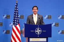 U.S. Secretary of Defence Mark Esper speaks at a news conference following a NATO defence ministers meeting at the Alliance…