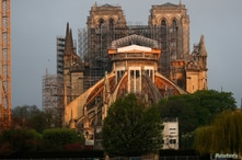 A view shows the restoration work at Notre Dame Cathedral, which was damaged in a devastating fire almost one year ago, in Paris, France, April 7, 2020.