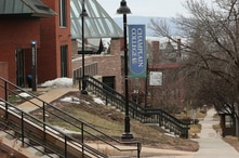 A sign on the campus of Champlain College in Burlington, Vermont, March 11, 2020.