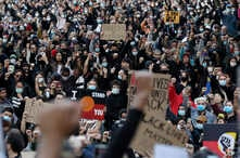 Protesters gather in Sydney, June 6, 2020, to support the cause of U.S. protests over the death of George Floyd.