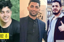Undated photos of three Iranian men sentenced to death for participation in Iran's November 2019 antigovernment protests. From l