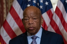 FILE - In this June 21, 2019, file photo, Rep. John Lewis, D-Ga., talks before signing the Taxpayer First Act of 2019, at the…
