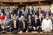 Egyptian members of parliament attend a general session in the capital Cairo, July 20, 2020.