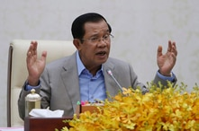 Cambodia's Prime Minister Hun Sen speaks in Phnom Penh during a speech on the current state of a new virus from China, Jan. 30, 2020.