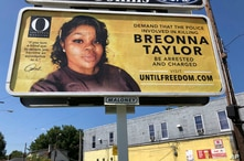 A billboard sponsored by O, The Oprah Magazine, is on display with with a photo of Breonna Taylor, Friday, Aug. 7, 2020 in…