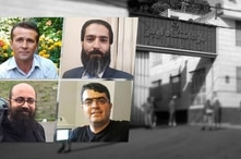 Undated images of four jailed Iranian dissidents who were informed they tested positive for the coronavirus in Evin prison