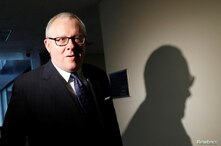 Former Trump campaign official Michael Caputo arrives to be interviewed by Senate Intelligence Committee staffers on Capitol…