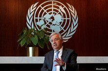United Nations Secretary-General Antonio Guterres speaks during an interview with Reuters at U.N. headquarters in New York City…