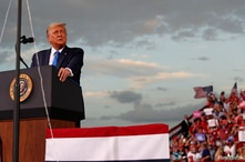 U.S. President Donald Trump speaks during a campaign rally at Cecil Airport in Jacksonville, Florida, Sept. 24, 2020.