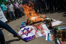 Palestinians protest in Gaza City against the UAE and Bahraini normalization agreement with Israel, Sept. 15, 2020.