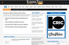 A portion of the home page of the Kashmir Times' online version.