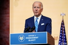 U.S. President-elect Joe Biden delivers a pre-Thanksgiving speech at his transition headquarters in Wilmington, Delaware.