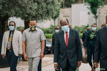 Ethiopian Prime Minister Abiy Ahmed meets with African Union (AU) envoys in Addis Ababa, Ethiopia, Nov. 27, 2020, in this picture obtained from social media.