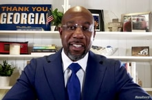 Democratic U.S. Senate candidate Rev. Raphael Warnock delivers a virtual victory speech on his campaign's Youtube account, January 6, 2021.