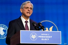 Attorney General nominee Merrick Garland speaks during an event with President-elect Joe Biden and Vice President-elect Kamala…
