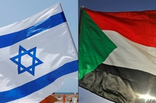 FILE - A combination of photos shows an Israeli flag, left, during a rally in Tel Aviv, Sept. 19, 2020, and a Sudanese flag during a gathering east of the capital Khartoum, June 3, 2020.