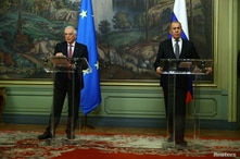 Russia's Foreign Minister Sergei Lavrov and European Union's foreign policy chief Josep Borrell attend a news conference…
