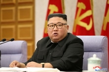 North Korean leader Kim Jong Un attends a plenary meeting of the Workers' Party in Pyongyang, North Korea, in this undated photo released on Feb. 12, 2021, by North Korea's Korean Central News Agency (KCNA).