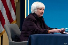 Treasury Secretary Janet Yellen speaks during a virtual roundtable with participants from Black Chambers of Commerce across the…