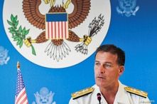 U.S. Admiral John C. Aquilino speaks during a news conference in Bangkok, Thailand, December 13, 2019. REUTERS/Juarawee…