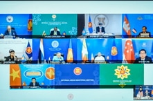 Foreign ministers and representatives of Association of Southeast Asian Nations (ASEAN) are seen on a screen.