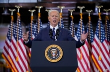 President Joe Biden delivers a speech on infrastructure spending, at Carpenters Pittsburgh Training Center, in Pittsburgh, Pennsylvania, March 31, 2021.