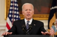U.S. President Joe Biden delivers remarks on the state of the coronavirus disease (COVID-19) vaccinations.
