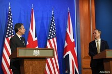 U.S. Secretary of State Antony Blinken and Britain's Foreign Secretary Dominic Raab hold a joint news conference.