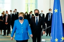 German Chancellor Angela Merkel and US Secretary of State Antony Blinken arrive for a joint press conference at the Chancellery in Berlin, Germany, June 23, 2021.