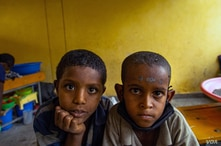 Displaced children in Tigray are often in danger of malnutrition and in some areas, famine, pictured in Shire, Ethiopia, June 11, 2021.