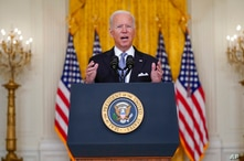 President Joe Biden speaks about Afghanistan from the East Room of the White House, Monday, Aug. 16, 2021, in Washington. (AP…