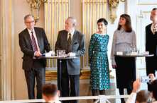 Members of the Nobel Committee for Literature announce the winners of the 2018 and 2019 Nobel Prize in Literature at the Swedish Academy in Stockholm, Oct. 10, 2019.