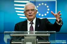 High Representative of the Union for Foreign Affairs and Security Policy Josep Borrell gives a press conference during the EU…