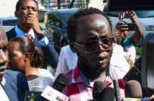 Tanzanian journalist Erick Kabendera speaks to journalists following his release on February 24, 2020, after pleading guilty to…